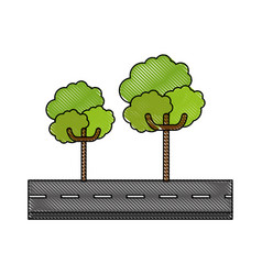 Isolated tree on highway vector
