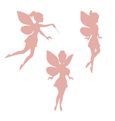 set of silhouettes of fairies set of silhouettes vector image