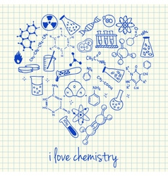 I love chemistry doodles in heart vector