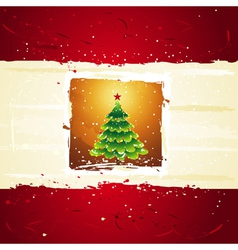 Green christmas tree over golden background vector