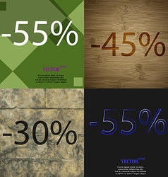 45 30 55 icon set of percent discount on abstract vector