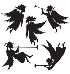 Christmas angel silhouettes vector