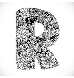 Doodles font from ornamental flowers - letter R vector image