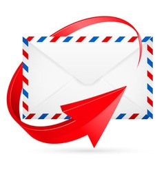 Envelope with red arrow around vector