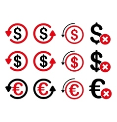 Dollar and euro chargeback flat icon set vector