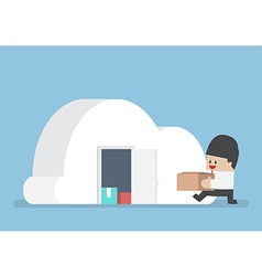 Businessman keep his stuff in cloudy shape room vector