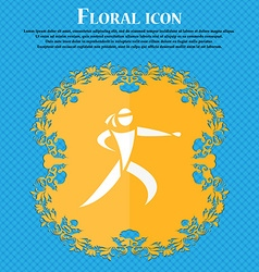 Karate kick icon Floral flat design on a blue vector image