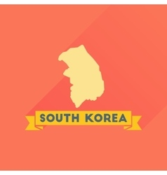 Flat icon with long shadow Map South Korea vector image
