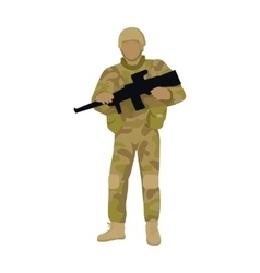 Armed soldier with weapon isolated infantry troop vector