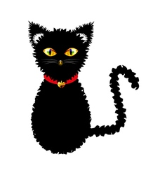 Black cat yellow golden eyes vector