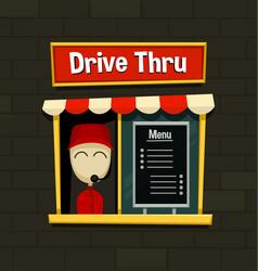 Cartoon drive thru menu board fast food business vector