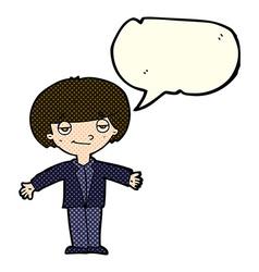 Cartoon smug boy with speech bubble vector
