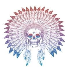Colorful skull in native american headdress vector