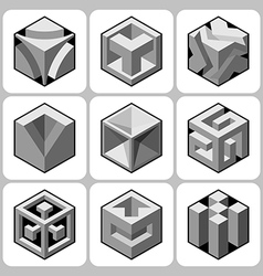 cube icon set 9 vector image vector image