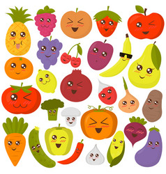 Cute vegetables and fruits vector