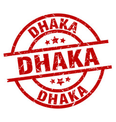 Dhaka red round grunge stamp vector