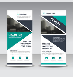 Green black triangle corporate business roll up vector