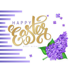 Happy easter poster with lettering lilac vector