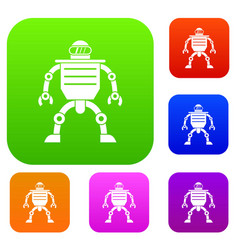 Humanoid robot set color collection vector