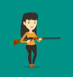hunter ready to hunt with hunting rifle vector image vector image