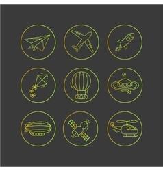 Icon set of aircraft vector