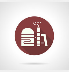 Industrial pollution burgundy round icon vector
