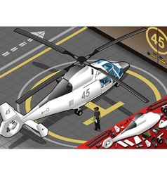 Isometric white helicopter landed in rear view vector