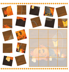 jigsaw puzzle game for children with pumpkins - vector image