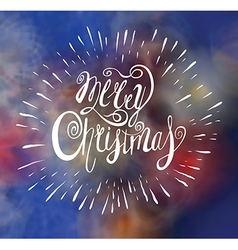 Merry christmas greeting card with lettering vector