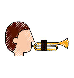 musician character trumpet jazz music festival vector image vector image