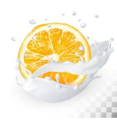 Orange in a milk splash on a transparent vector
