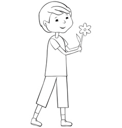 Outline boy with flower vector