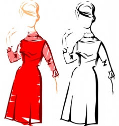 retro fashion sketches vector image vector image