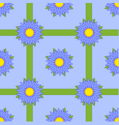 seamless pattern of blue flowers with green vector image vector image