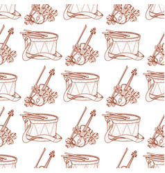 Seamless pattern with drum and violin vector