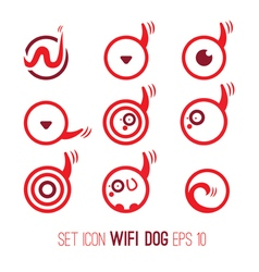 Set icon of wifi dog vector
