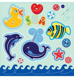 Set of buttons cartoon animals and word SEA vector image vector image