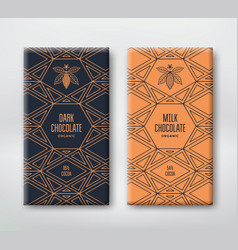 Set realistic vertical chocolate banners vector
