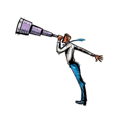 Side view of man holding telescope vector image vector image