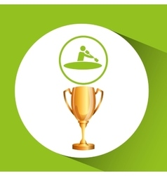 Silhouette man canoe rowing athlete trophy vector