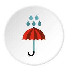 Umbrella and rain icon flat style vector