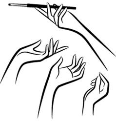 Vintage womens hands vector image