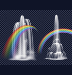 Waterfalls and rainbows decorative elements vector