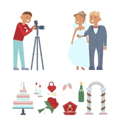 Wedding couple and photographer vector
