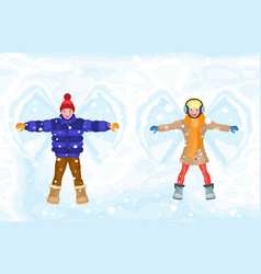 Winter snow angel people boy and girl vector