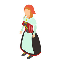 woman in costume icon isometric style vector image vector image