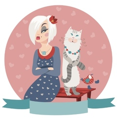Woman offended by cat vector image