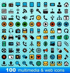 100 multimedia and web icons vector