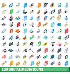 100 social media icons set isometric 3d style vector image