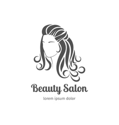 Beautiful girl silhouette with long wavy hair vector